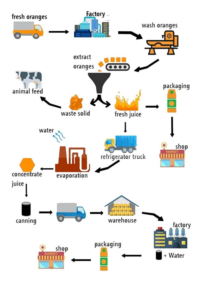 The Diagram Below Show How Orange Juice Is Produced