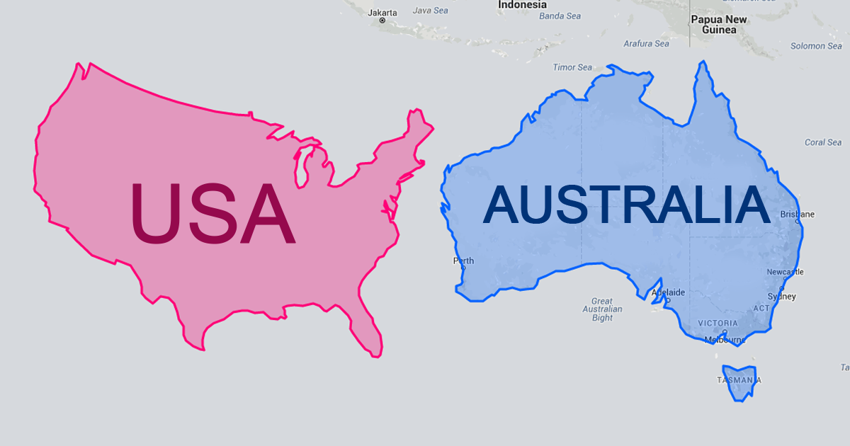 Map Of Australia And Usa.Australia Is Almost As Big As The Usa Mercator Map Projection